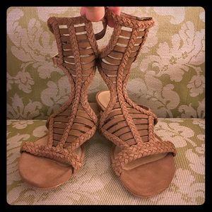 Brand new Schutz gorg tan suede gladiator sandals.